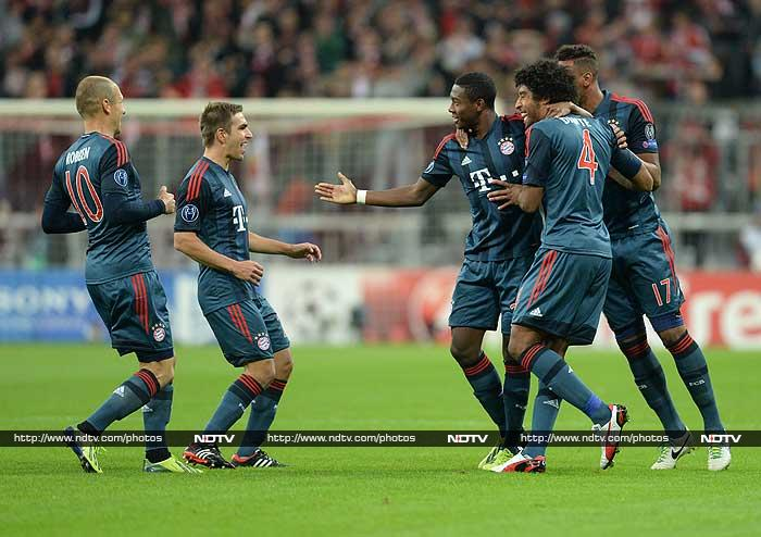 Bayern Munich carried on from where they left off last season in the May final at Wembley as Austria left-back David Alaba got Pep Guardiola's side off to a flying start in their Group D clash with a stunning fourth-minute free-kick. <br> Croatia striker Mario Mandzukic then knocked home an Arjen Robben free-kick, despite television replays suggesting three Munich players were offside, four minutes before half-time. <br> Robben wrapped up the scoring midway through the second half from the excellent Alaba's lofted pass.