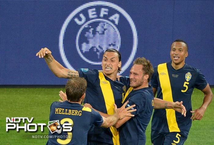 Ibrahimovic coolly slotted the ball into the net and embarked on a typical flamboyant celebration, arm raised straight in the air.