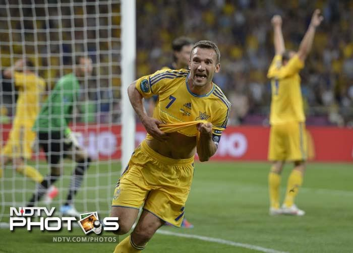 Ukraine's former European Player of the Year Andrei Shevchenko rolled back the years as his second-half double inspired the Euro 2012 co-hosts to a come from behind 2-1 win over Sweden in their Group D encounter. (All AFP and AP Images)