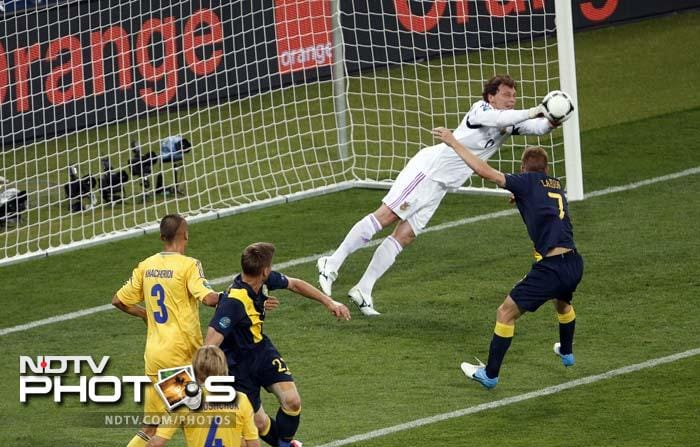 Ukraine had three shots on goal while Sweden had four but the hosts managed to pull off three saves.