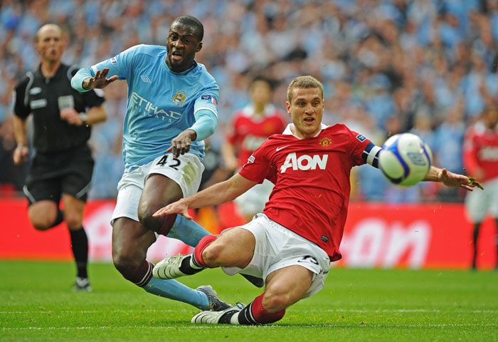 16/04/11: MANCHESTER CITY 1 MANCHESTER UNITED 0<br><br> This was to be City's year in FA Cup as they ended their 35-year trophy drought. Yaya Toure scored in the 52nd minute to take City into the finals at Wembley against Stoke which they won 1-0. (AFP Photo)
