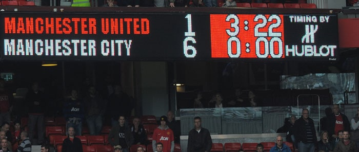 23/10/11: MANCHESTER UNITED 1 MANCHESTER CITY 6<br><br> As Sir Alex pointed out after the match, it probably was United's worst ever day. City were 1-0 up at the break but Johnny Evans eviction gave City the belief to go all out. A brace from Balotelli and Dzeko while one goal each from Aguero and Silva shredded United to pieces. (AFP Photo)