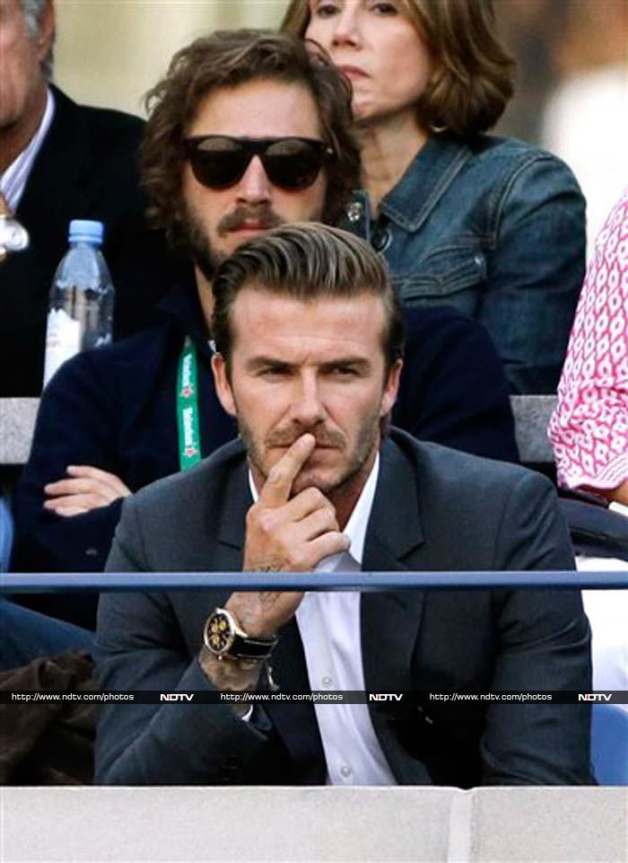 David Beckham was present for the men's singles final match between Rafael Nadal and Novak Djokovic.<br><br>The immensely popular footballer was completely engrossed in the proceedings on court.