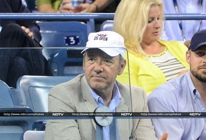 Actor, director, screenwriter, producer and a tennis fan!<br><br>Kevin Spacey watches Serbia's tennis player Novak Djokovic plays Portugal's Joao Sousa.