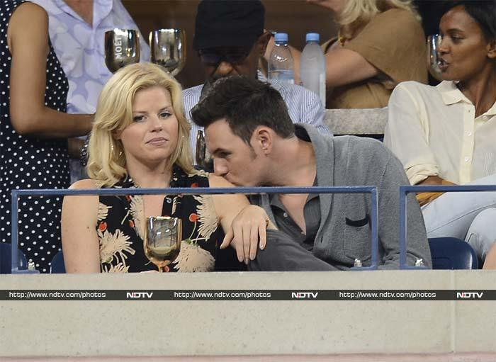 Brian Gallagher seems to have a lot of love to offer but for once, actress Megan Hilty is too busy soaking the tennis action to return the affection, it seems.