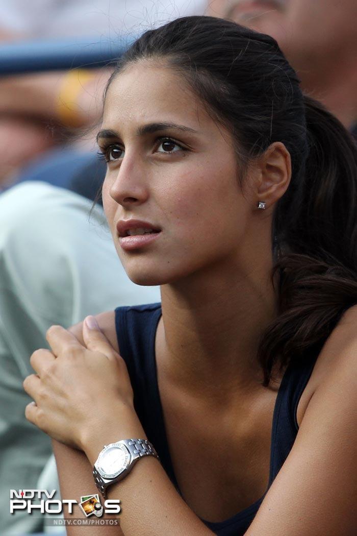 <b>Pensive:</b> Girl-friend Maria Francisca Perello watches Rafael Nadal play.
