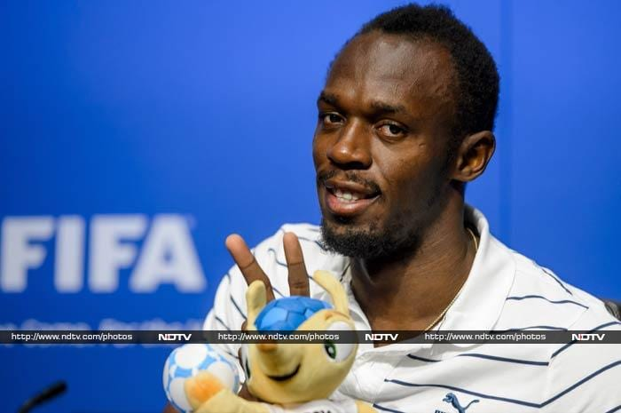 """Bolt said while his favourite team is Jamaica, he picked Brazil to win the next edition of the World Cup. <br><br>""""I've been watching a few matches this year and I'm impressed by Brazil,"""" he said when asked to pick his favourite. """"They have a young team and can win it at home."""" <br><br>Image courtesy: AFP"""