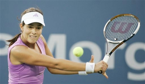 Ana Ivanovic of Serbia returns to Aiko Nakamura of Japan during the first round of the US Open tennis tournament in New York, Monday, Aug. 27, 2007.