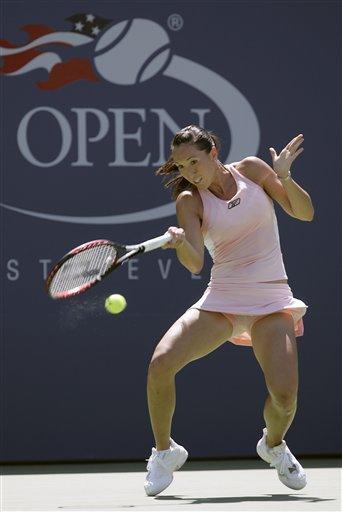 Jelena Jankovic of Serbia returns a shot to Jarmila Gajdosova of Slovakia during the first round of the US Open tennis tournament in New York, Monday, Aug. 27, 2007.