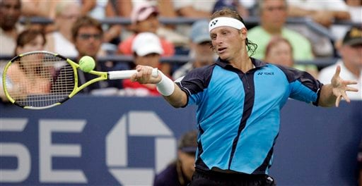 David Nalbandian of Argentina returns a shot to Ivan Navarro Pastor of Spain at the US Open tennis tournament in New York, Tuesday, Aug. 28, 2007.