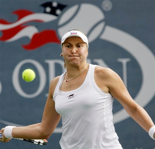 Nadia Petrova of Russia returns a volley to Timea Bacsinszky of Switzerland at the US Open tennis tournament in New York, Tuesday, Aug. 28, 2007.