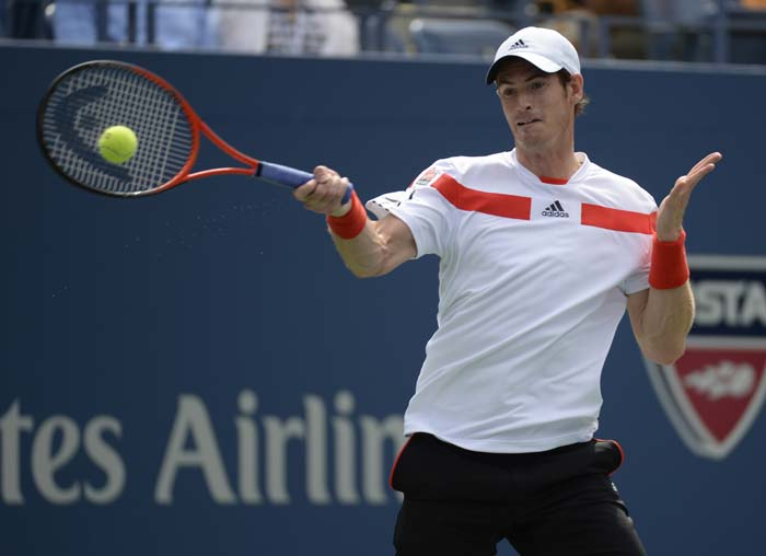 Andy Murray was one of the first stars to take the court on Sunday, against Germany's unseeded Florian Mayer.