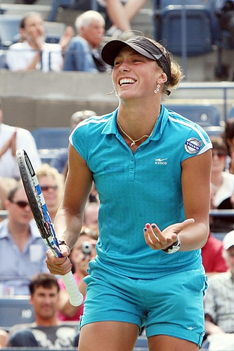 Yanina Wickmayer of Belgium celebrates match point against Kateryna Bondarenko of the Ukraine during day ten of the 2009 U.S. Open at the USTA Billie Jean King National Tennis Center on Wednesday in the Flushing neighborhood of the Queens borough of New York City. (AFP Photo)