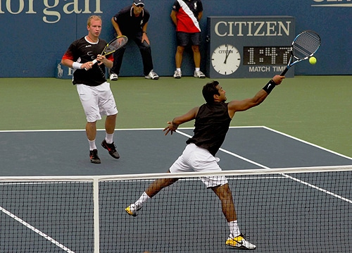 Leander Paes and his partner Lukas Dlouhy in action during day ten of the 2009 U.S. Open at the USTA Billie Jean King National Tennis Center on Wednesday in the Flushing neighborhood of the Queens borough of New York City. (PTI Photo)