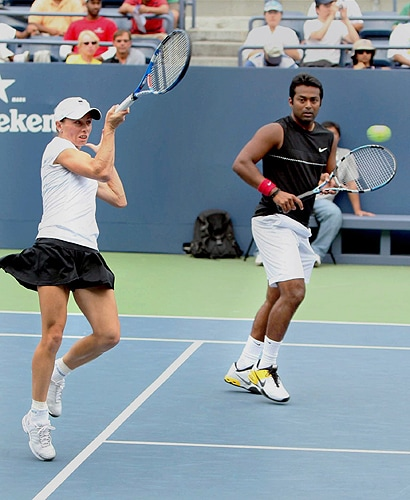 India's Leander Paes and Zimbabwe's Cara Black win the semifinals of the Mixed Doubles US Open in New York. (PTI Photo)