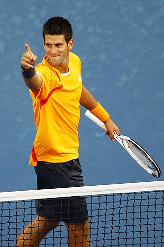 Novak Djokovic of Serbia celebrates match point against Fernando Verdasco of Spain during day ten of the 2009 U.S. Open at the USTA Billie Jean King National Tennis Center on Wednesday in the Flushing neighborhood of the Queens borough of New York City. (AFP Photo)