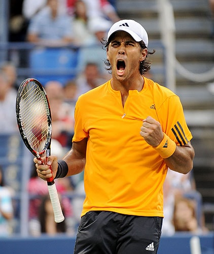 Fernando Verdasco of Spain celebrates his 4-6, 6-4, 6-4, 6-4 win over John Isner of the US during day eight of the 2009 US Open at the USTA Billie Jean King National Tennis Center on Monday in the Flushing neighborhood of the Queens borough of New York City. (AFP Photo)