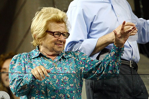 Ruth Westheimer looks on during day eight of the 2009 US Open at the USTA Billie Jean King National Tennis Center on Monday in the Flushing neighborhood of the Queens borough of New York City. (AFP Photo)