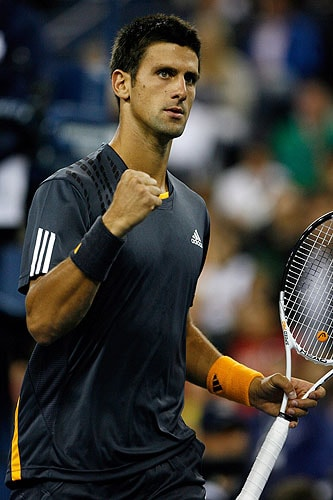 Novak Djokovic of Serbia celebrates after a point against Radek Stepanek of the Czech Republic during day eight of the 2009 US Open at the USTA Billie Jean King National Tennis Center on Monday in the Flushing neighborhood of the Queens borough of New York City. (AFP Photo)