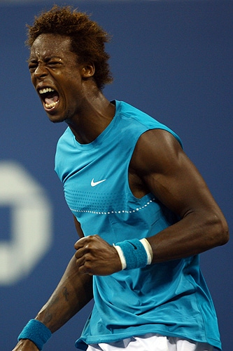 Gael Monfils of France reacts after a point against Rafael Nadal of Spain during day nine of the 2009 US Open at the USTA Billie Jean King National Tennis Center on Tuesday in the Flushing neighborhood of the Queens borough of New York City. (AFP Photo)
