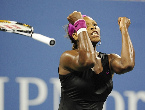 US' Serena Williams celebrates after winning against Italy's Flavia Pennetta during their quarterfinals match of the 2009 US Open at the USTA Billie Jean King National Tennis Center in New York on Tuesday. Williams won 6-4, 6-3. (AFP Photo)