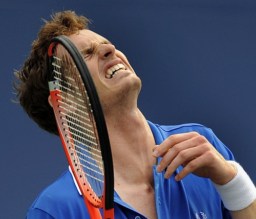 Andy Murray of Britain reacts during his 4th round US Open match against Croatian Marin Cilic at the USTA Billie Jean King National Tennis Center on Tuesday in New York. (AFP Photo)