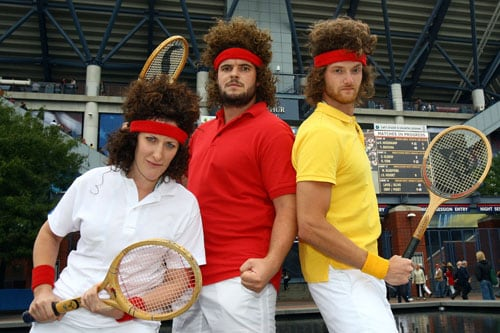 Fans pose for a portrait during day eleven of the 2009 US Open in New York. (AFP Photo)