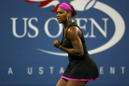 Serena Williams celebrates after a point against Melinda Czink of Hungary during day three of the US Open at the USTA Billie Jean King National Tennis Center on September 2. (AFP Photo)