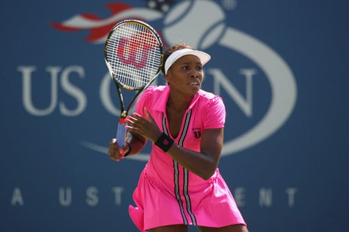 Venus Williams of the United States waits for a serve from Bethanie Mattek-Sands of the United States during day three of the 2009 US Open at the USTA Billie Jean King National Tennis Center on September 2. (AFP Photo)