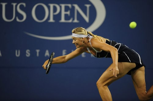 Russian tennis player Maria Sharapova returns a point to US Christina McHale during day four of the US Open at the USTA Billie Jean King National Tennis Center in New York on September 3, 2009. (AFP Photo)