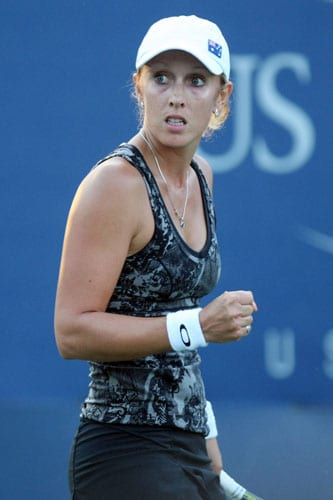 Anastasia Rodionova of Australia reacts to a point against Kateryna Bondarenko of the Ukraine during day six of the 2009 US Open at the USTA Billie Jean King National Tennis Center in the Flushing neighborhood of the Queens borough of New York City. (AFP Photo)
