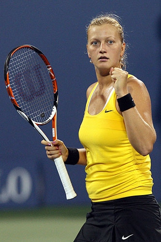 Petra Kvitova of the Czech Republic reacts after a point against Dinara Safina of Russia during day six of the 2009 US Open at the USTA Billie Jean King National Tennis Center in the Flushing neighborhood of the Queens borough of New York City. (AFP Photo)