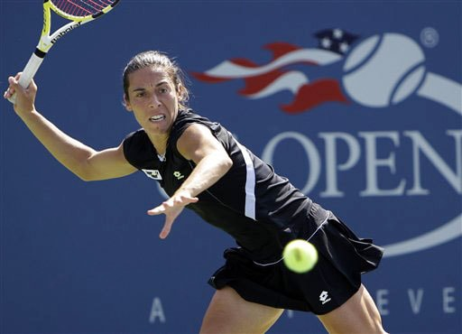Francesca Schiavone of Italy, returns to Li Na of China, during the US Open in New York. (AP Photo)
