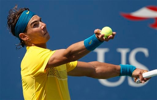 Rafael Nadal of Spain, serves to compatriot Nicolas Almagro during the US Open in New York. (AP Photo)
