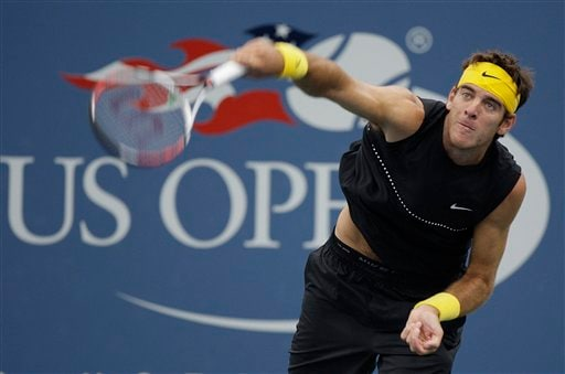 Juan Martin del Potro of Argentina, serves to Daniel Koellerer of Austria, during the third round of the US Open in New York. (AP Photo)