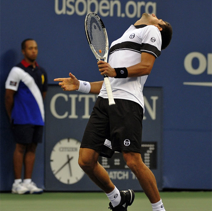 Novak Djokovic from Serbia against Rafael Nadal from Spain during the Men's Singles Final at US Open 2010 match at the USTA Billie Jean King National Tennis Center. (AFP Photo)