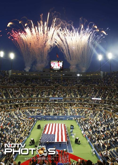 Fireworks during the opening ceremony for the US Open in New York. (AP Photo)