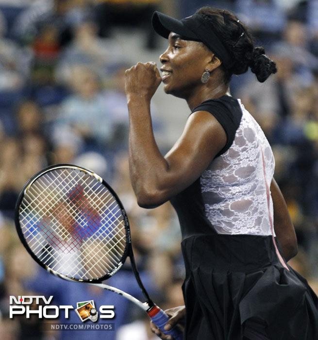 Venus Williams of the United States pumps her fist after defeating Russia's Vesna Dolonts 6-4, 6-3 in the first round of the US Open in New York. (AP Photo)