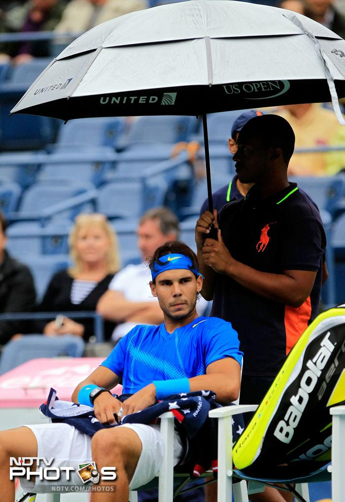 <b>Idle:</b> While frustration was evident with players who were scheduled to play, Nadal looked the most dis-heartened with the showers.