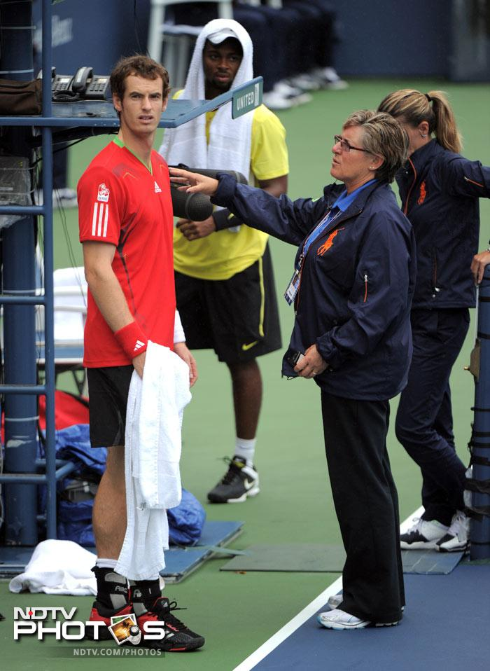 <b>Collective agony:</b> Nadal was not the only one fuming. Andy Murray had his match against Donald Young called off as well.