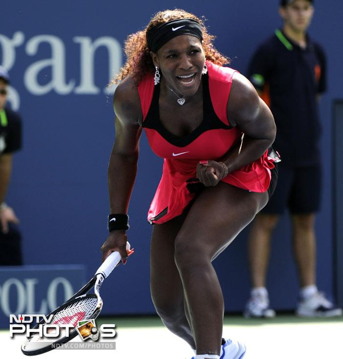 <b>Moment of joy: </b>Serena Williams continued her surge to reinstate her authority in the battle for women's supremacy. Seeded 28th, the American looked to prove a point as she defeated Anastasia Pavlyuchenkova. (AFP Photo)