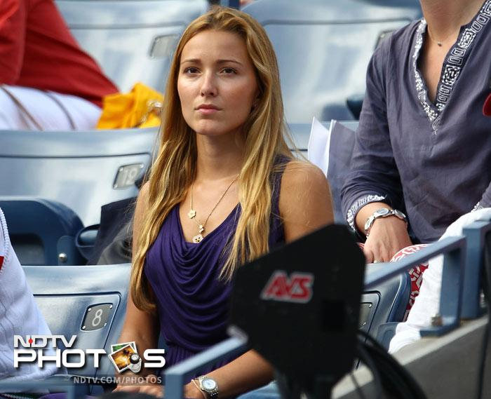 <b>WAG of the day: </b>Jelena Ristic, girlfirend of Novak Djokovic of Serbia watches him play against fellow Serb Janko Tipsarevic. (AFP Photo)