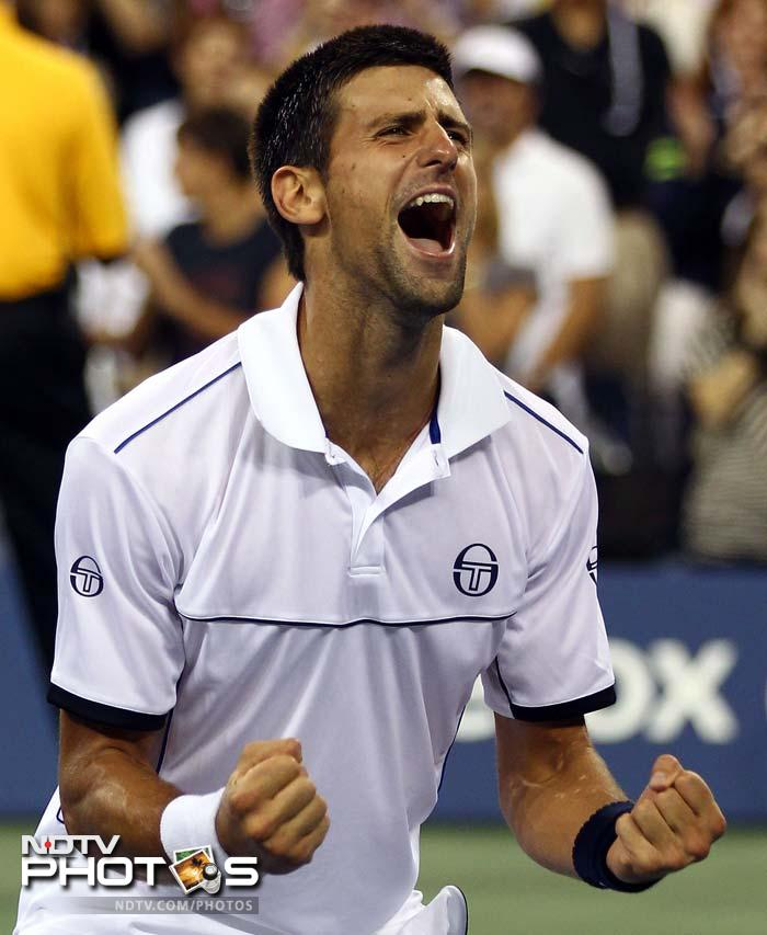 Novak Djokovic of Serbia reacts after he won match point against Rafael Nadal. (AFP Photo)