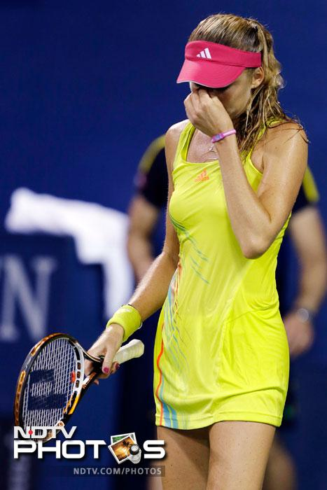 Daniela Hantuchova reacts during a match against Anastasia Pavlyuchenkova at the US Open in New York. (AP Photo)