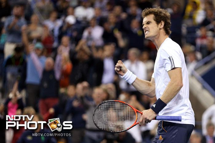 Andy Murray celebrates after a point during his men's singles final match of the 2012 US Open against Novak Djokovic at USTA Billie Jean King National Tennis Center in the Flushing neighborhood of the Queens borough of New York City. (AFP Photo)