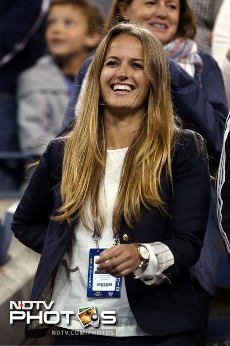 Kim Sears, Andy Murray's girlfriend smiles following his victory against Novak Djokovic in the men's singles final match of the 2012 US Open at USTA Billie Jean King National Tennis Center in the Flushing neighborhood of the Queens borough of New York City. (AFP Photo)