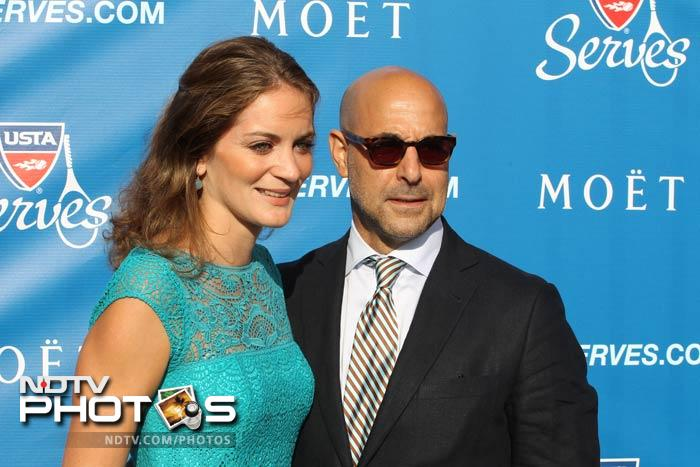 Actor Stanley Tucci and wife Felicity pose for the cameras.