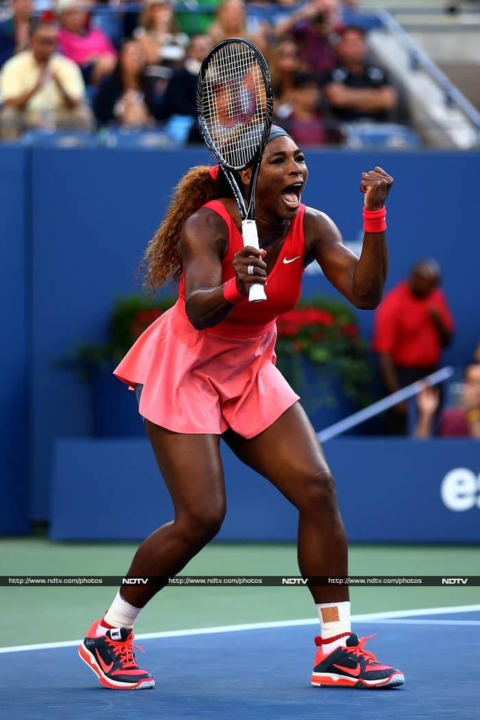 Serena Williams is over the moon at winning a point.