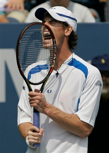 Andy Murray of Britain reacts after losing a point to Jonas Bjorkman of Sweden at the US Open tennis tournament in New York on Thursday.