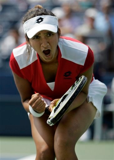Sania Mirza of India reacts after winning a point against Laura Granville of the United States at the US Open tennis tournament in New York on Thursday.